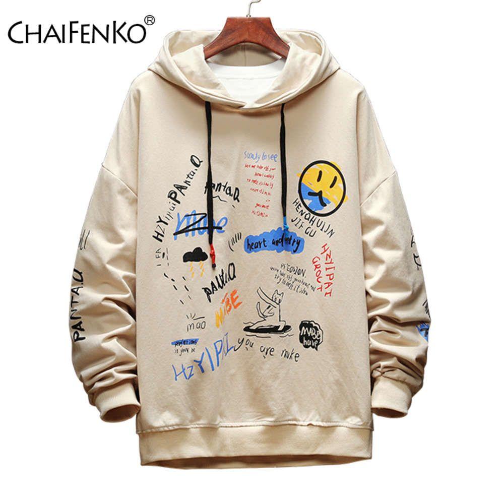 Chaifenko 2020 nuovo autunno moda graffiti felpa casual maschio giapponese harajuku streetwear hip hop con cappuccio