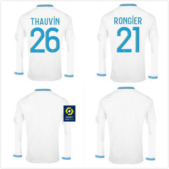 2020 olympique de om Marseille Jerseys de football à manches longues 9 Benedetto L.Gustavo 10 Payet 26 Thauvin Kamara Custom 2021 Home Football Shirt