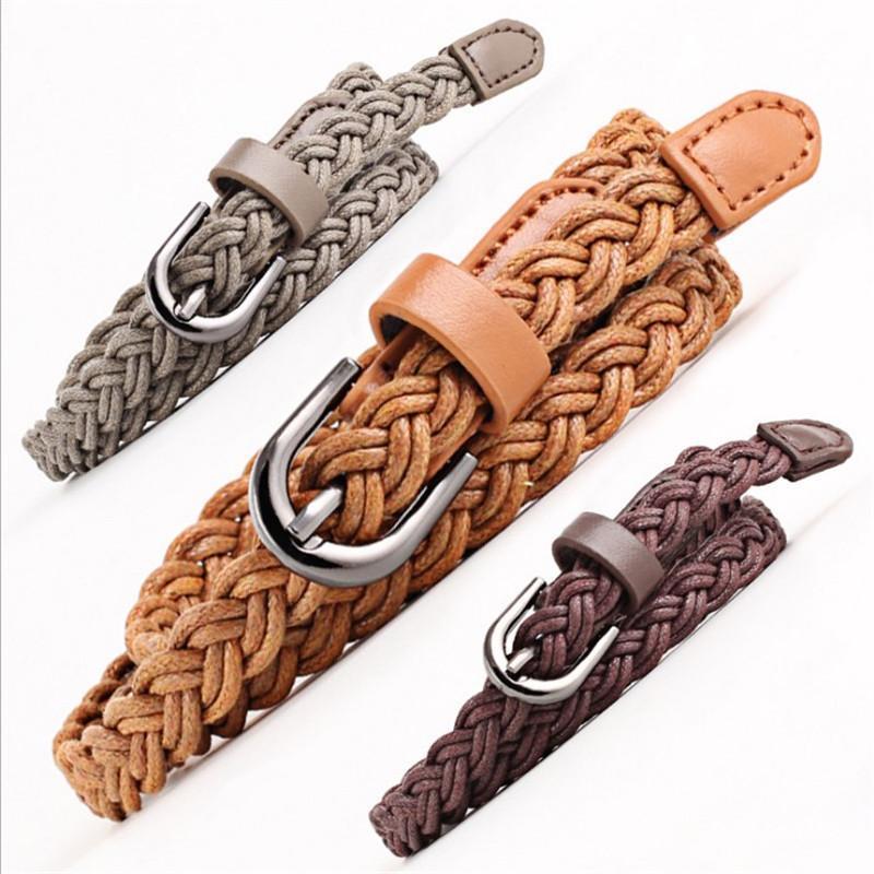 NUEVO Cinturón trenzado Brown PU Cinturón de cuero Tan negro Vintage Mujeres Angustada Cintura Roja