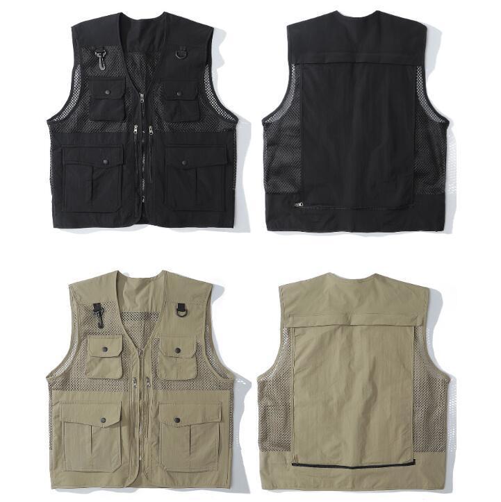 Carga Vest Jackets Mens Casual Zipper Bolsos Sem Mangas Casacos Pesca Tops Tático