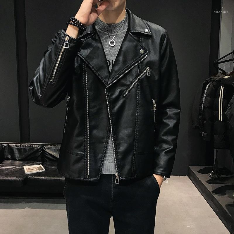 Yasuguoji Moda Slim Fit Çapraz Fermuar PU Deri Ceket Erkekler Sıcak kış Polar Mens Faux Deri Kısa Ceket1