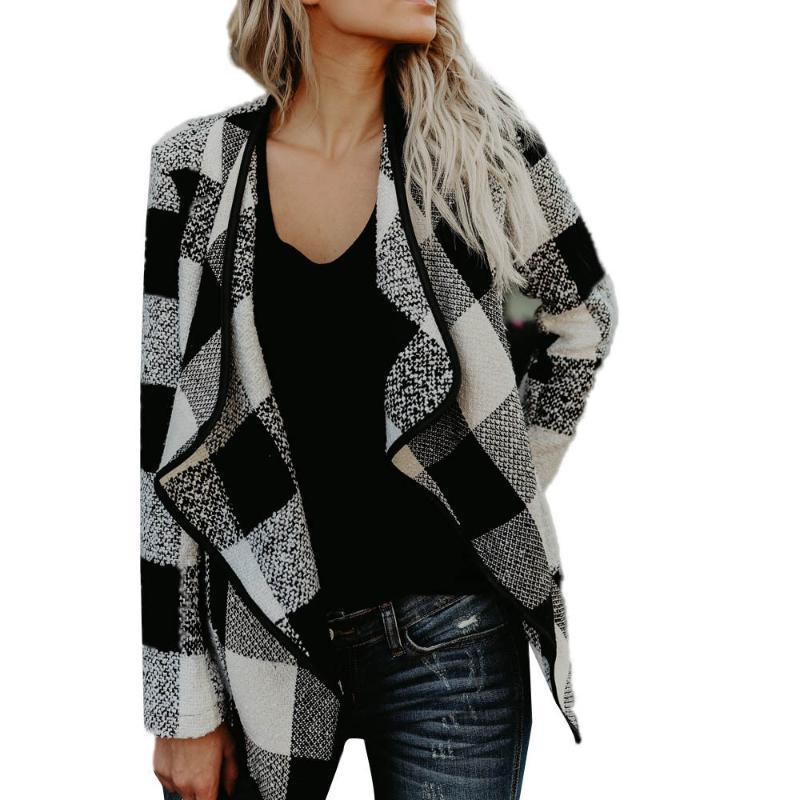 Kadın Ceketler Moda Kadınlar Sonbahar Bahar Dış Giyim Uzun Kollu Yün Ekose Ceket Sıcak Tutun Hırka Kaşmir Ceket Blusas