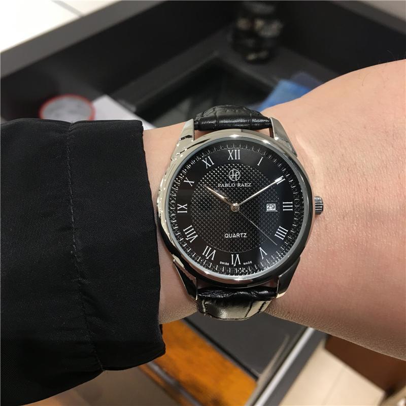 Pablo Raez Мода Кожаный Человек Часы Календарь Роскошный Случайный Стиль Кварц Дата Montre Reloje de Marca Бизнес Простое наручные часы Dropshipping