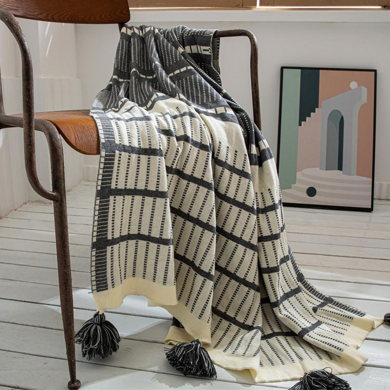 Geometric Stripe Knitted Blanket Tassel Casual Cotton Blanket for Home Textile sofa cover throw airplane thread