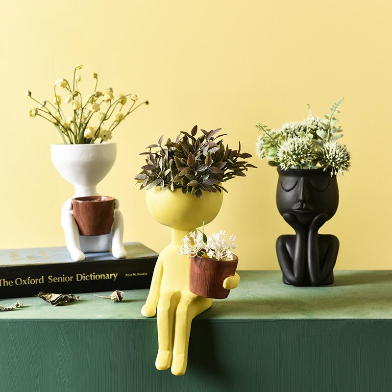 Pianta vaso vaso vaso viso resina penna pentola vaso flowerpot figure modello carino, piantatura succulente piante carino piante verdi vaso di fiori per arredamento da casa ufficio
