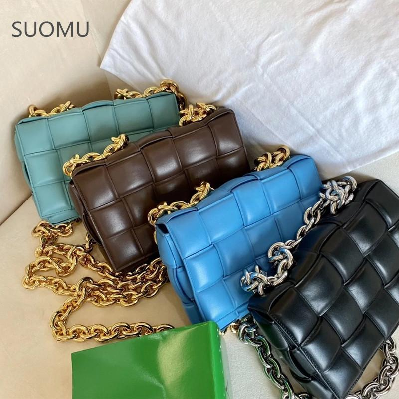 Thick Metal Chain Shoulder Bag Women New Designer Woven Soft Square Crossbody Bags Female Fashion flap bag high Quality C0121
