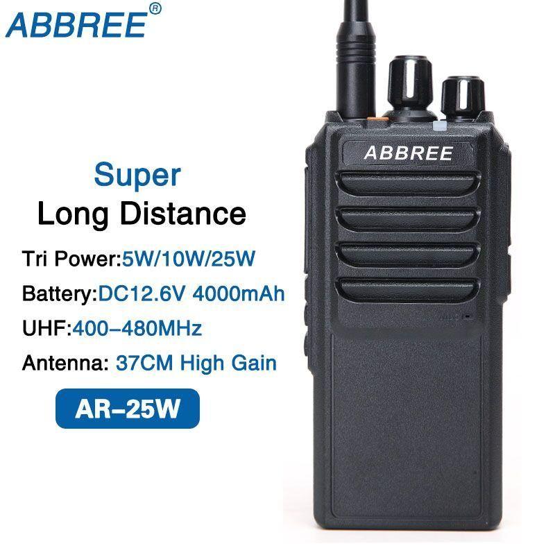 ABRREE AR-25W UHF 400-480MHz Puissance de sortie 25W 10W 5W 10km Gamme Deux voies radio avec antenne de gain de 37cm et batterie de 4000 mAh