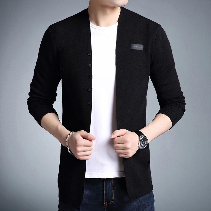 Трикотаж, неформальный гладкий шаль, свитер, мужская мода, с длинным рукавом, верхняя часть 3XL
