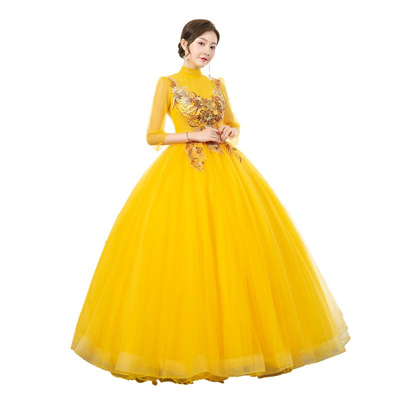 100% echte Ständerkragen Blumen Perlenhülsen Bühne / Opera Ballkleid Mittelalterliches Kleid Renaissance Kleid Königin viktorianisches Kleid / Marie Antoinette