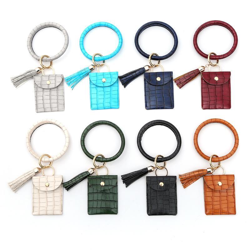 Bracelet Bracelet Carte Sac Portefeuille Porte-clés Porte-clés Porte-clés Crocodile Modèle Sac à main Bracelet Cuir Porte-clés Porte-cartes de crédit avec Tassel