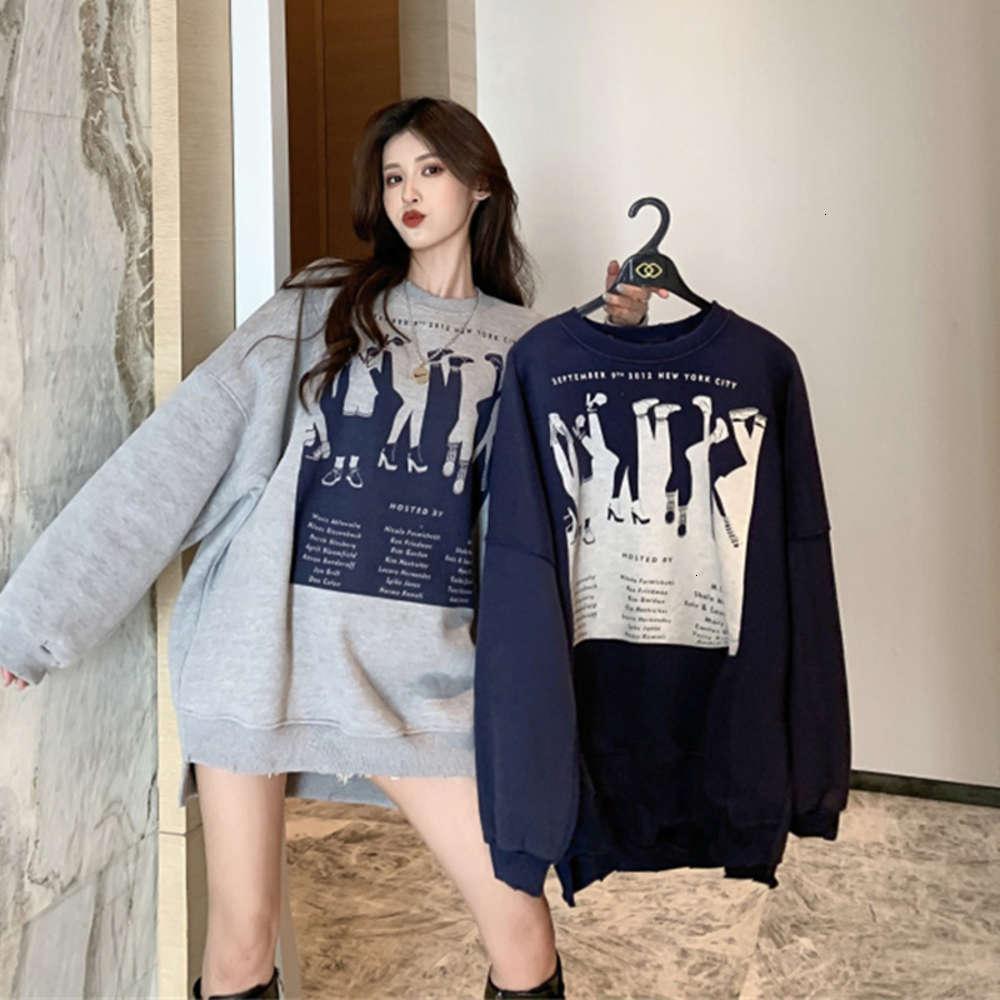 Корейский топ мода осень зима с длинным рукавом свободные и утолщенные круглые шеи пуловер абстрактный узор напечатанный свитер пальто
