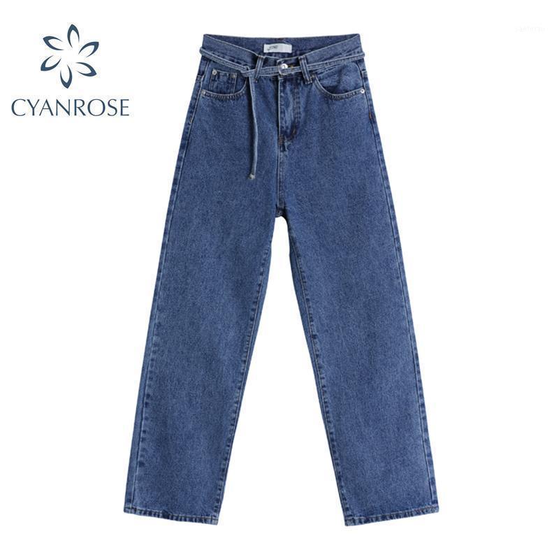 Streetwear Vintage Pierna de ancho Pantalones de mezclilla Mujeres 2021 Primavera Alta Cintura Vendaje Moda Jeans Simple Pantalones Pantalones de ocio femenino