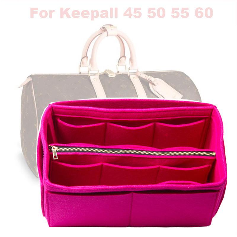 Fits Keepall 45 50 55 60 Insert Organizer Purse Handbag Bag in Bag-3MM Premium Felt(Handmade/20 Colors)w/Detachable Zip Pocket LJ200917