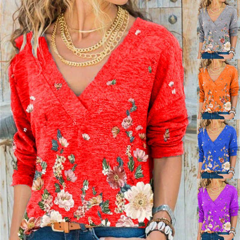 2021 Весна и осень Новые женские V-образные вырезывающие пуловер с длинным рукавом TOP футболка для женщин