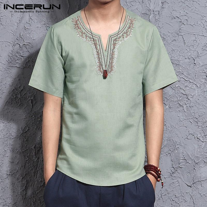 Hommes de style chinois Chemises à manches courtes Coton Broderie Tops Casual V Col Streetwear Vintage Loisirs Camisas Hombre S-3XL 2020