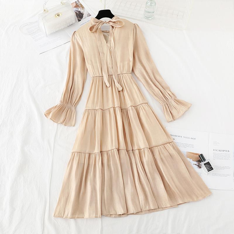 Outono inverno novo 2020 mulheres elegante vestido curva redondo pescoço manga comprida moda casual longo vestido plissado cintura elástica vestidos1