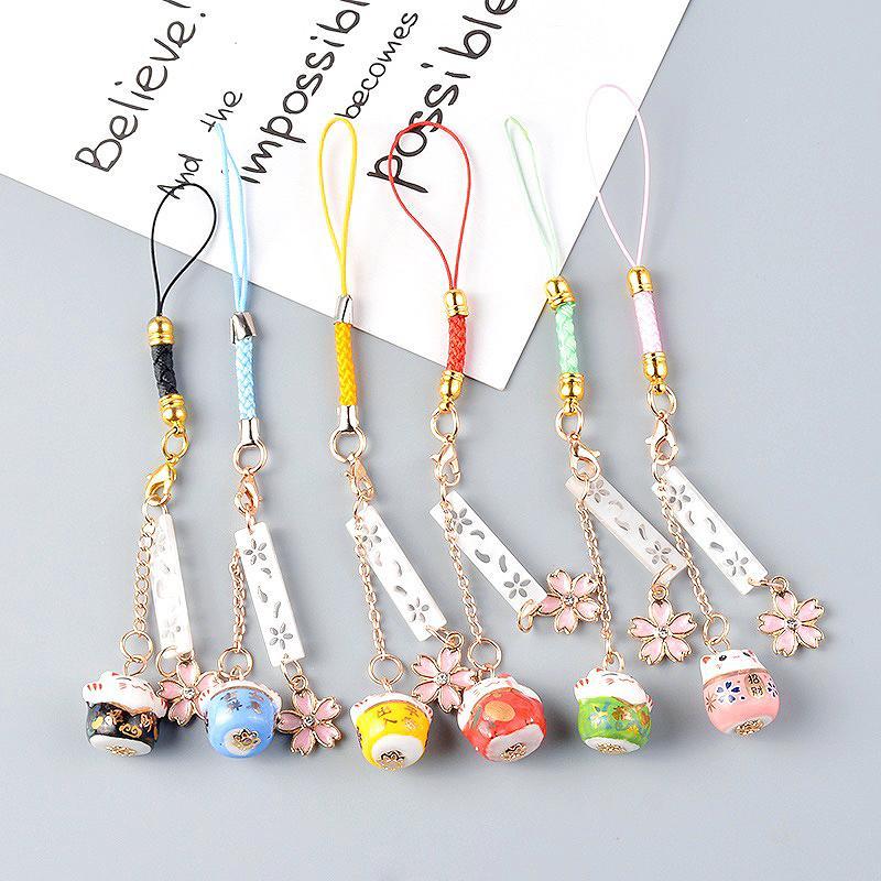Bonito Maneki Neko Smart Phone Strap Lanyards Decoração de iphone Daisy Sakura Cat Bell Corda Chaveiro Chaveiro Presente