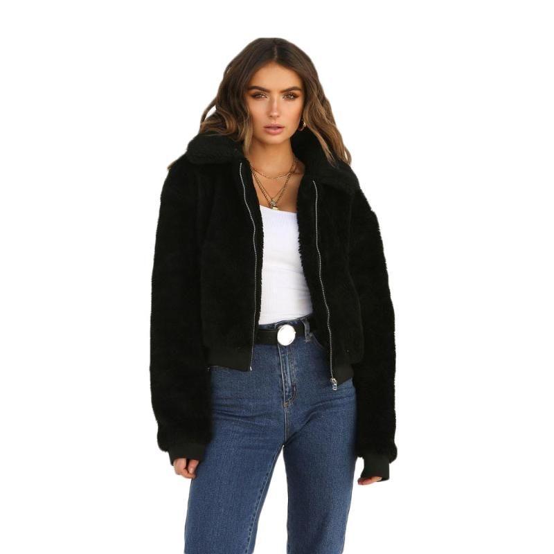 Women's Jackets Solid Color Turn-Down Zipper Slim Plush Jacket Women 2021 Winter Thicken Warm Comfort Coat
