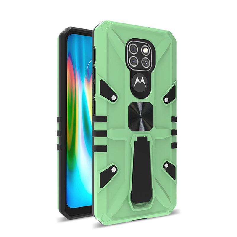 Para Motorola Moto G9 Play Case Ring Soporte Función Ima Magnet Car Caja de teléfono celular Cuatro esquinas Anti-caída y antideslizante Tapa trasera móvil B B