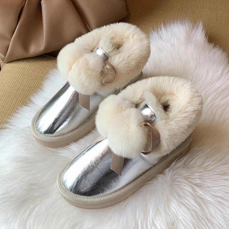 Kawaii Bow Furry Ball Botas de Neve Mulheres 2020 Novo Inverno Quente Moren de Pelúcia Botas Curtas Botas Waterpoof Chunky Plataforma Sapatos Mulher # XJ2K