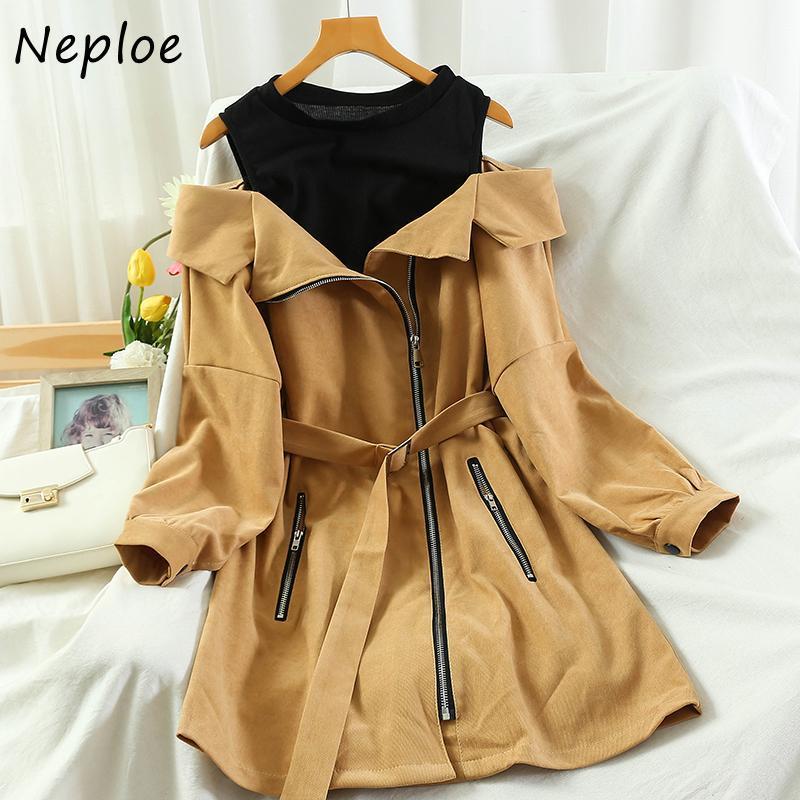 Neploe moda coreana o-pescoço zíper vestido mulheres cair roupas falsificadas dois retalhos vestidos fora do ombro vestidos irregulares 1h353
