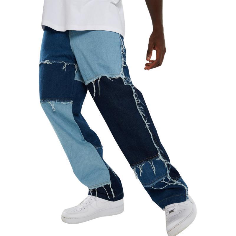 2020 Bloque de color de los hombres Jeans rectos Trendy Frayed Patchwork Relajado Fit Denim Pantalones de mezclilla suelta High Cintura de la cintura Pierna Pantalones pantalones vaqueros