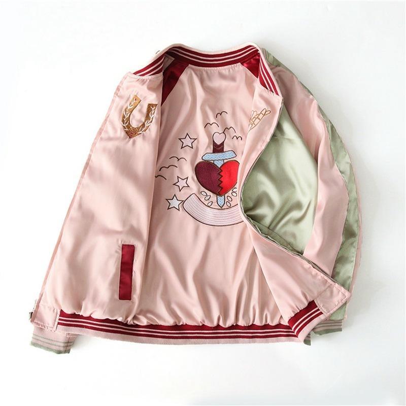 Йокосут две новые стороны носить розовые вышитые женские мягкие пиджак весна и осень случайный сатин бейсбол свободно женские куртки DWI6