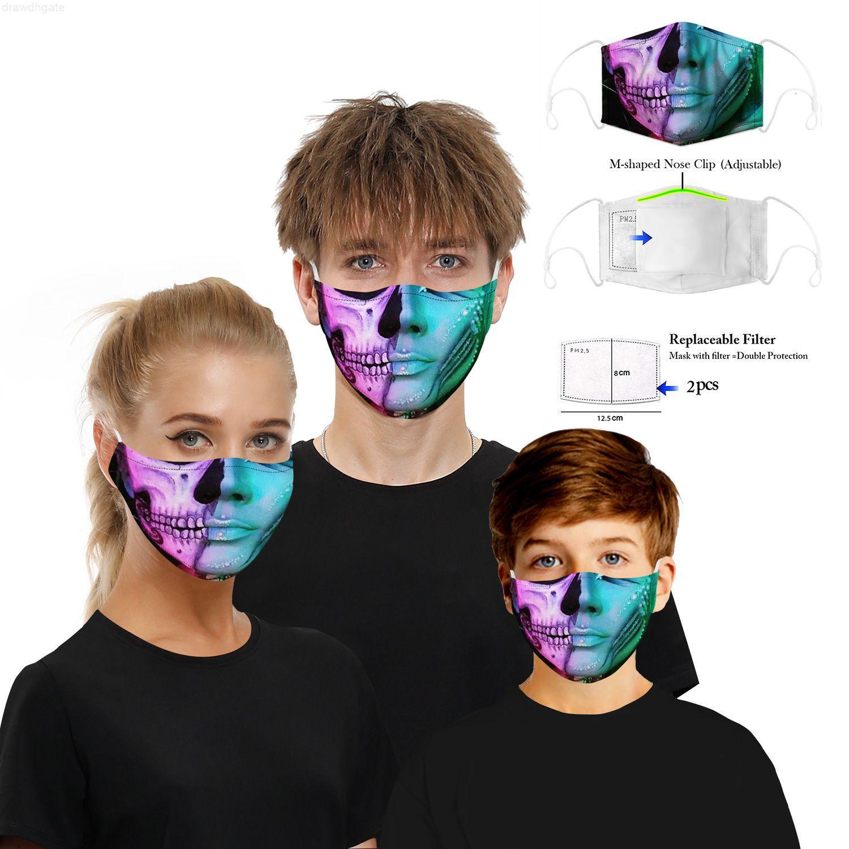 Factory3D HD Imprimer Mélange Choix Multiple Designer Masques Halloween Masques Ajustable Réutilisable PM2.5 Protecteur 5Layers Filtres