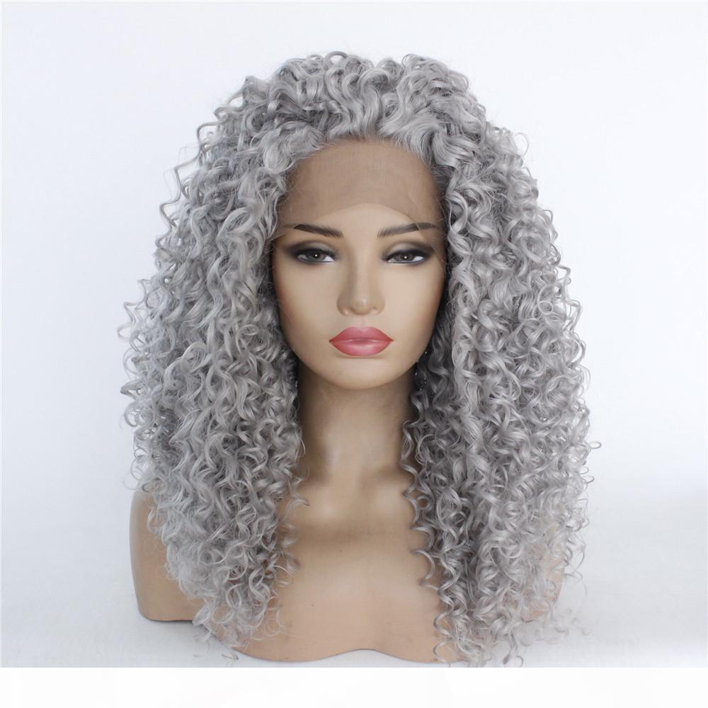 Cosplay Afro Kıvırcık Saç Peruk Sentetik Derin Dalga Saç Dantel Ön Sapıkça Kıvırcık Saç Peruk Yüksek Sıcaklık Fiber Drop Shipping Destek Ile