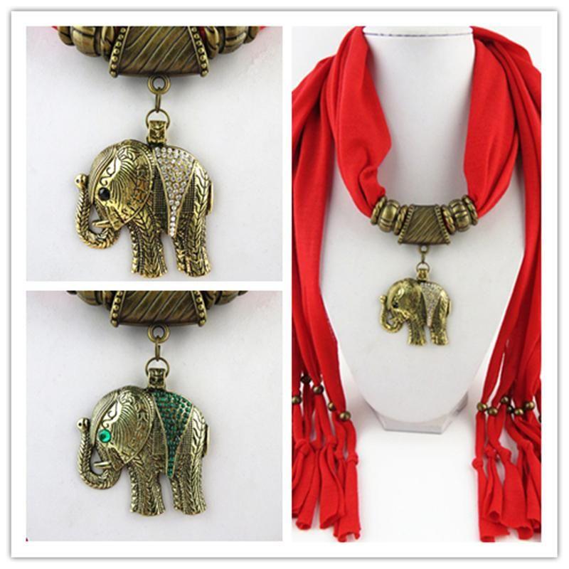 Ethnic Polyester Tassel elephant pendant Scarf Jewelry Necklace Fashion Solid Women Alloy fitting Shawl Diamond pendant Scarve