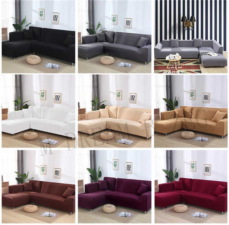 Polyester-Sofa-Cover 1/2/3/4 Massivfarbe sitzers rutschfeste couch abdeckung stretchmöbel protector wohnzimmer sofa hohe elastische sli