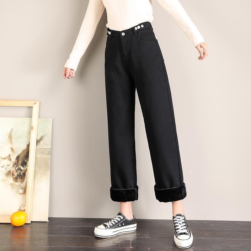 GUUZYUVIZ addensare più velluto Jeans Donna mamma Inverno a gamba larga pantaloni in denim pulsanti più Dimensioni vita alta Jean pantaloni larghi blu