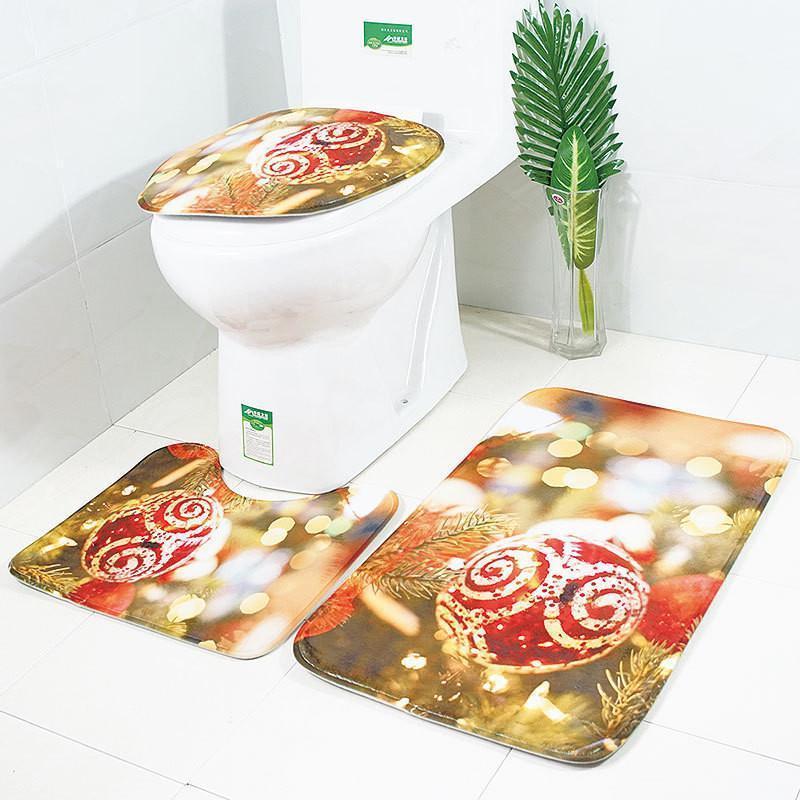 Décoration de Noël 3 pcs Tapis de bain Tapis de bonhomme de bonhomme de bonhomme de bain imprimé Tapis de salle de bain imprimé Set d'absorption d'eau antidérapante Housse de toilette Tapis de bain tapis1