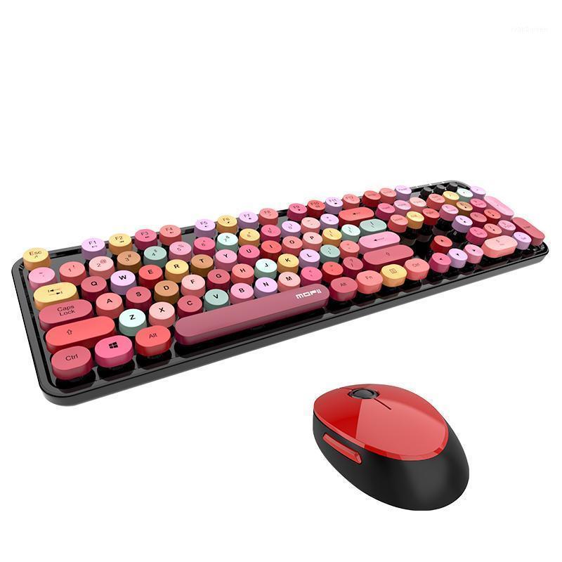 Tastaturen 2021 4 Color Mixed Game Keyboard und Maus Set 2.4 GHz Wireless Vintage Universal Desktop Kit für Mädchen1