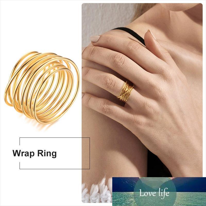 Bague à ressort enroulée Infinity Spirurgie Couleur d'or Spirale ouverte grande grande bypass anneau club femme bijoux