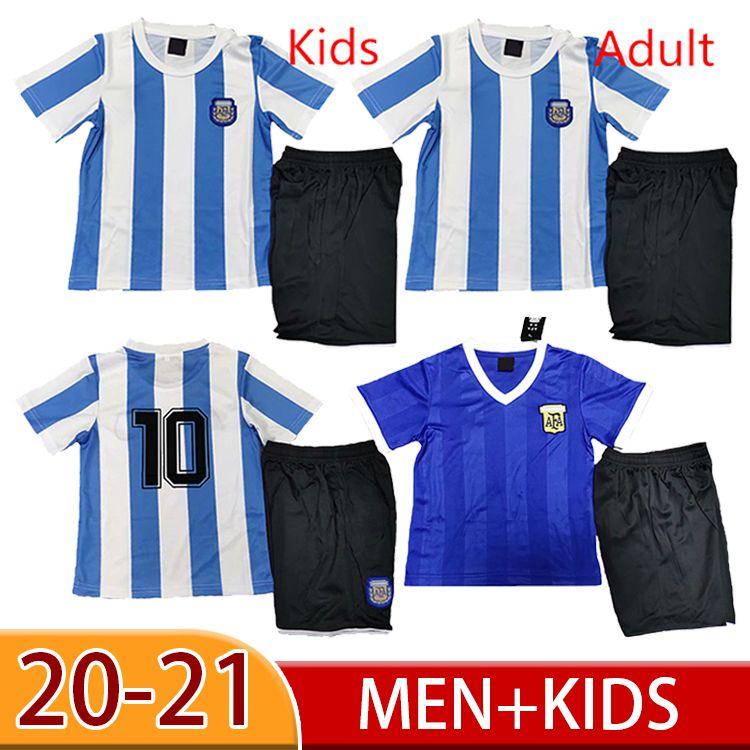 1986 Argentina Maradona Home Away Jersey Retro Versão 86 78 Maradona Men + Kit Kit Camisa de Futebol