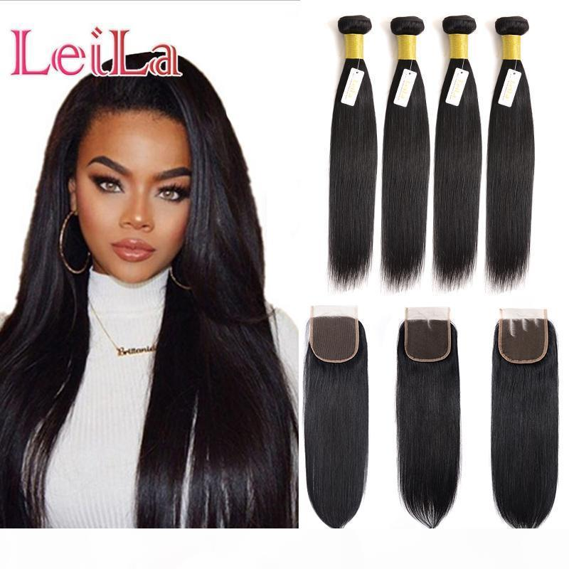 Cheveux brésiliens droit 4 paquets avec fermeture de dentelle cheveux soyeux cheveux humains couleur naturelle libre trois parties de lacets de dentelle 5 pièces lot