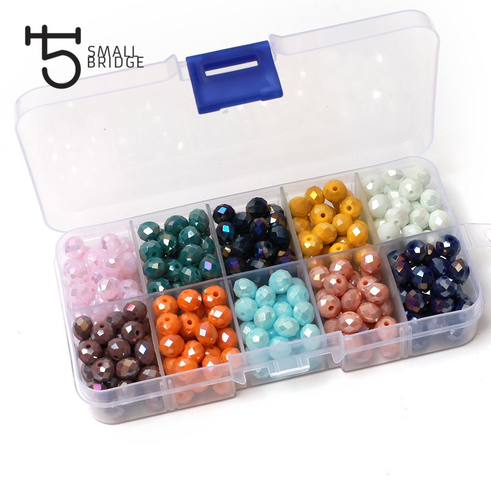 1400 pcs Checa Cerâmica Rondelle Cristal Beads Kit para Jóias Fazendo DIY Colar Beads DIY Jóias Mistura Solta Spacer Beads Set 201211