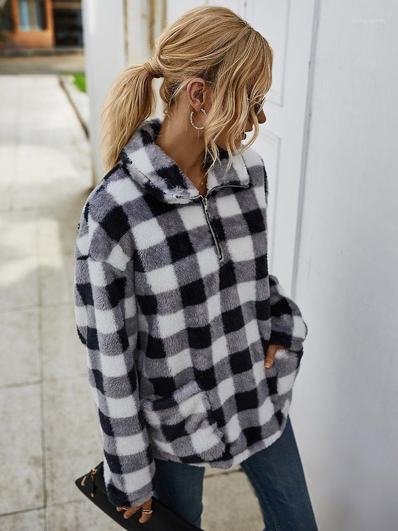 2021 Casual Print Camouflage Plaid Turn Down Woman Long Sleeve Coat Winter Clothes Womens Clothing1