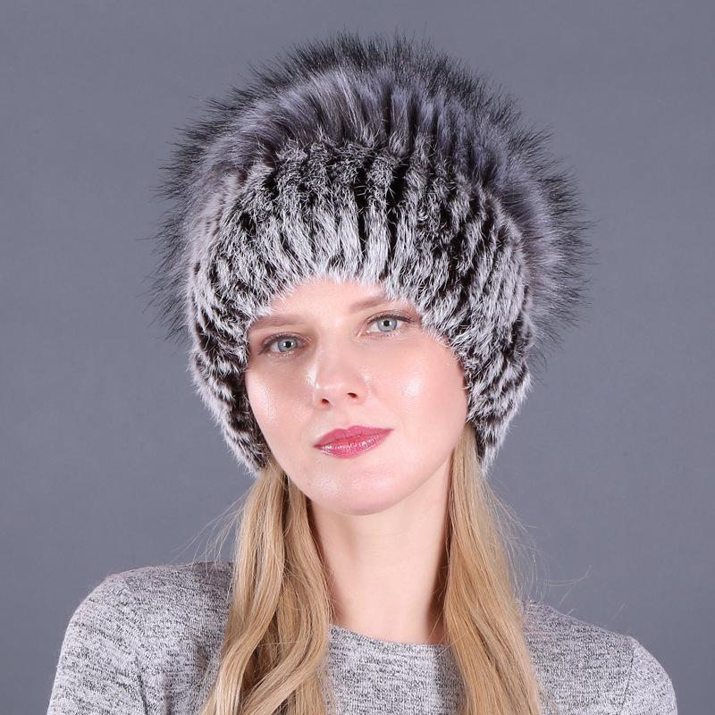 Hüte Winter Slouchy Strickmütze Rex Pelz Strickmützen Leichte Thick weiche warme Ski / Skull Cap Toboggan Männer Frauen Accessoires
