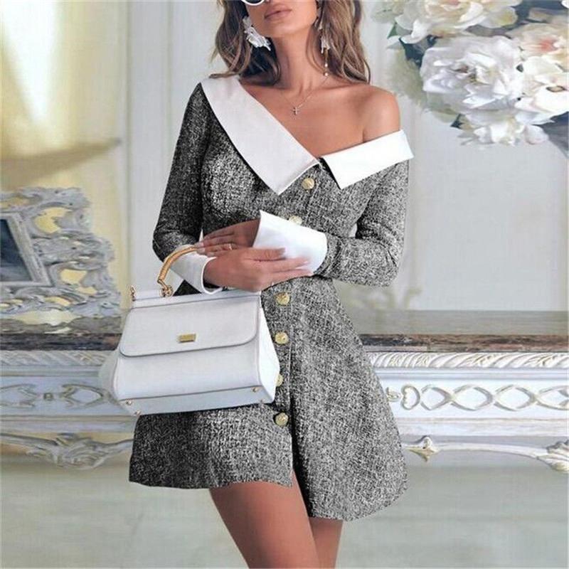 2020 Bahar Kadın Turn-down Yaka Düğmeli Mini Elbise Bayanlar Uzun Kollu Bodycon Parti Örgün Elbise İngiltere Düğme Giysileri Q0111