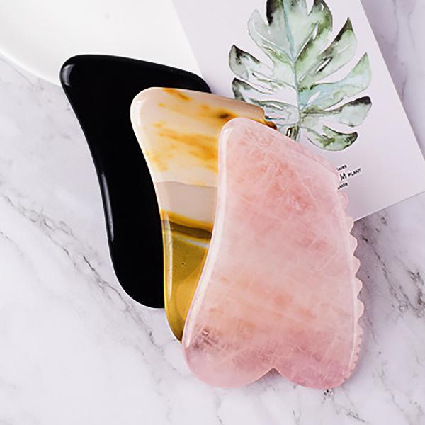 Black Obsidian Rosa Crystal Jade Gua Sha Werkzeug Gesichtspflege Abnehmen Schaber Board Sägezahnkopf Massage Natürliche Stein Gesichtsbehälter Hals