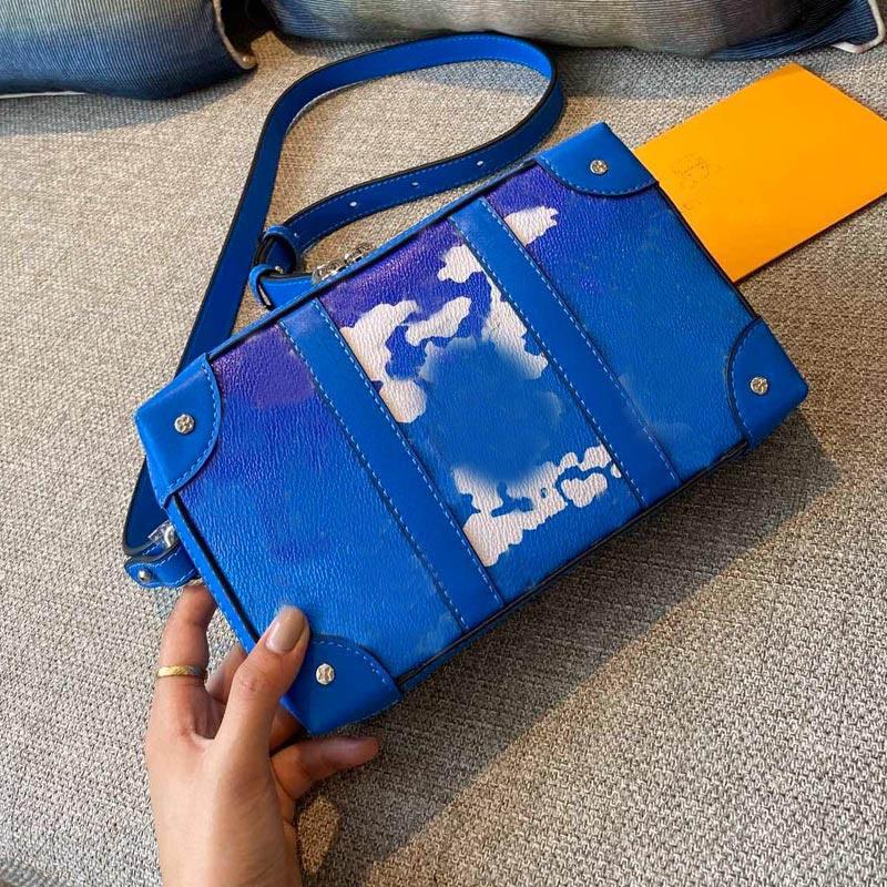 Newest soft trunk handbags pocket zipper purse women belt shoulder bags floral print letter handbag ladies tote suitacase design handbag