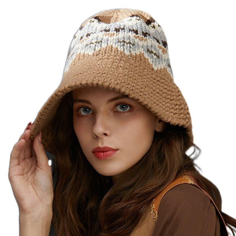 Женские девушки зимы вязания крючком Knit Широкий Брим ковша Этнические Урожай Волнистые полосы жаккардовый Складная Floppy Теплый Fisherman Hat