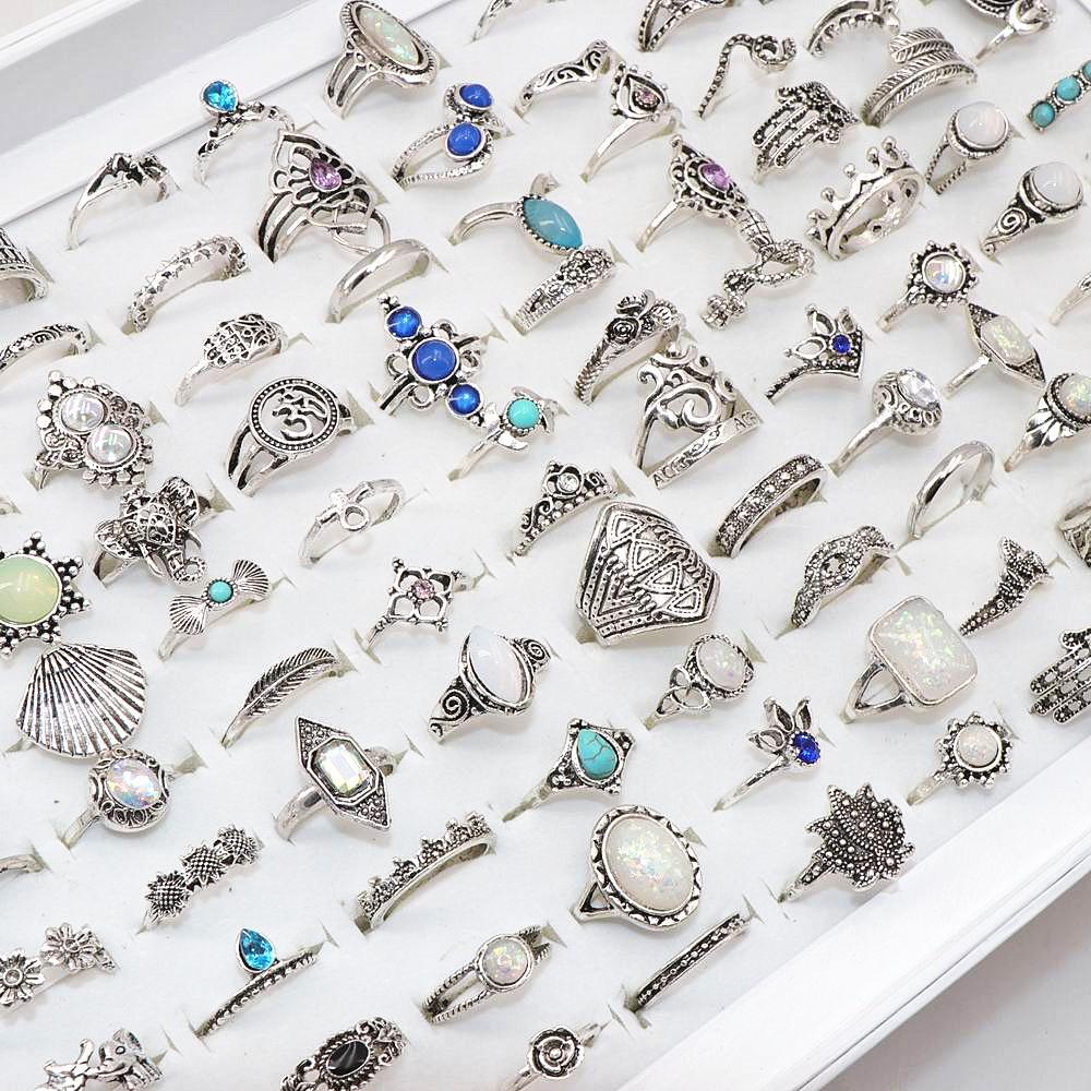 Venta al por mayor 100pcs / lote surtido bricolaje bohemia vintage plata flor dedo dedo para mujeres regalo de fiesta joyería q1218