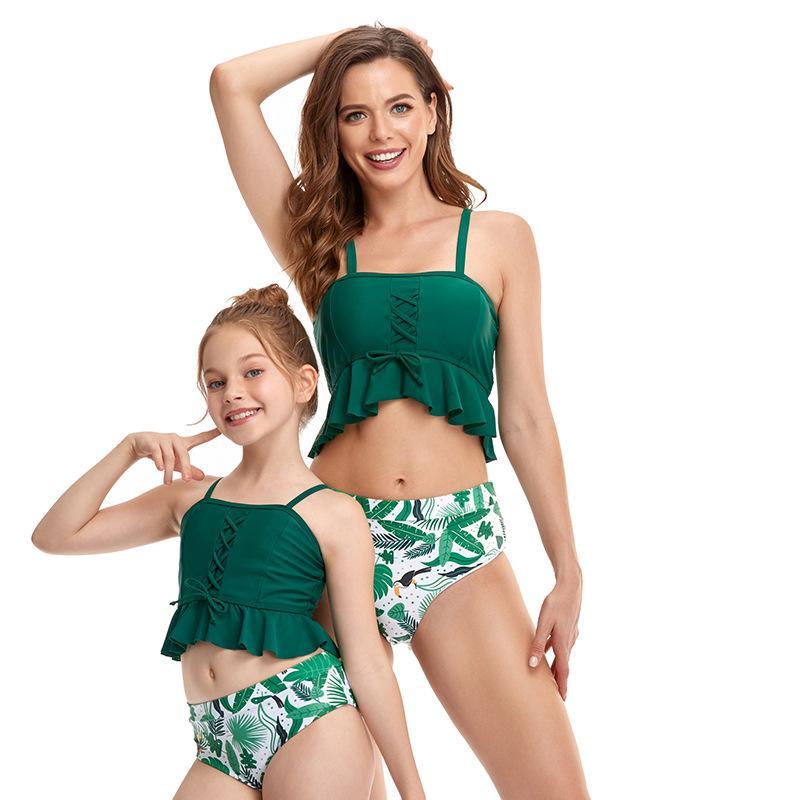 Nuevo al por mayor Padre-niño Swimwear Swimk Swiff Borla de tassel Cubierta de vientre Split Bikini Chaleco Estilo de cintura alta Malla para adultos Nadar para niños