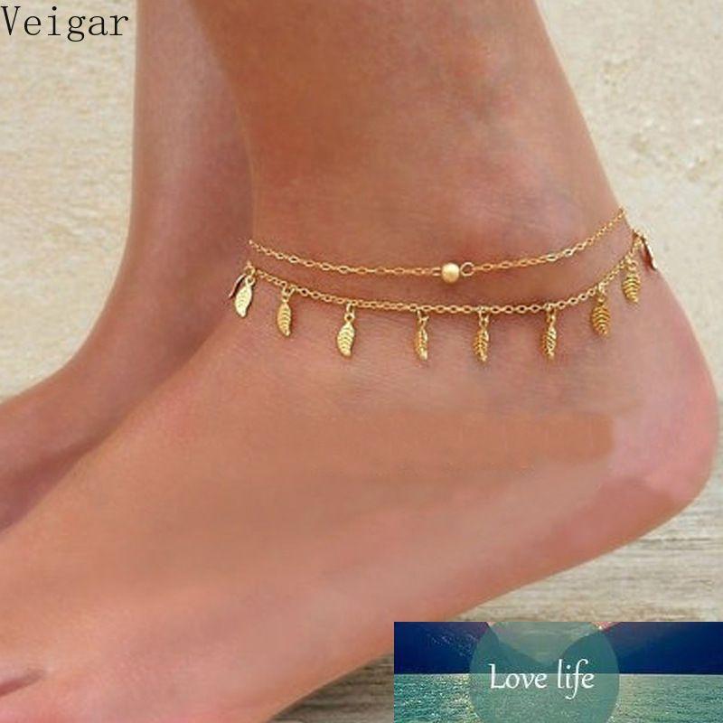 Fußklets Fußkette Sandalen Frauen Liebe Schmuck Beine Schöne Anklets Knöchelfuß Blätter Fransene Doppelfüschchen Kette Made de Pied