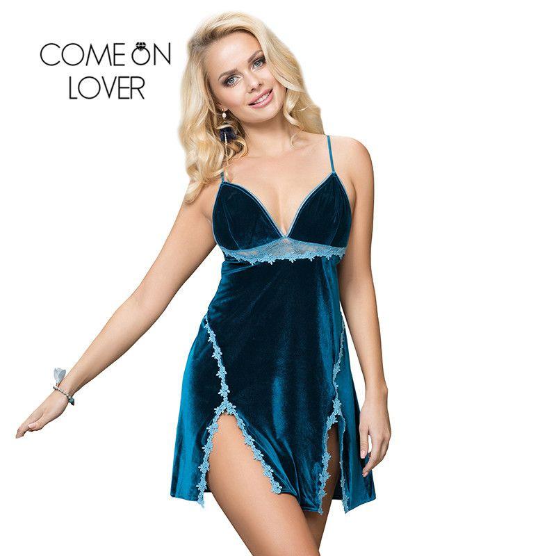 Comeonover Velor Seksi Pijama V Yaka Kadınlar Sling Gecelik Aç Geri Bayanlar Pijama Nakış Çiçek Lingerie RI80981 201204