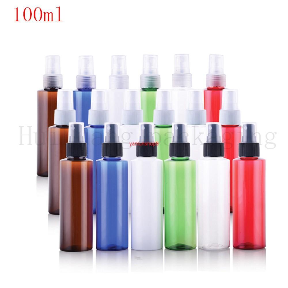 50pcs 100ml in miniatura bottiglia di plastica bianca con spruzzo nebbia 100cc e vuoto spruzzatore per profumo per il contenitore SAMLL campione tasca tascabile BOTLEBESBEST QUALITÀ