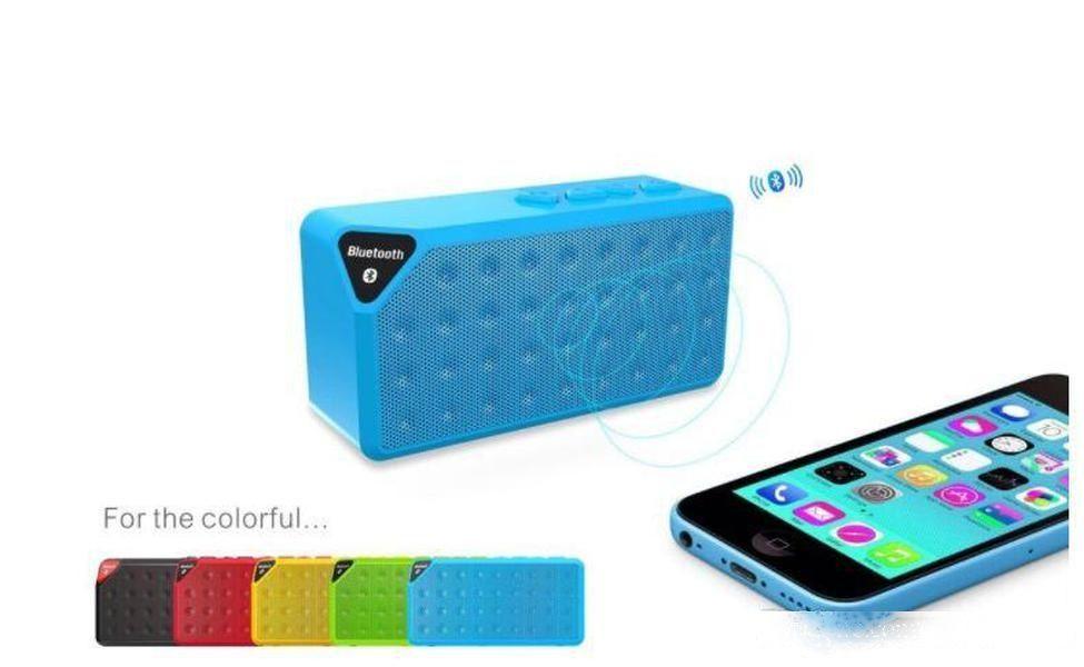 X3 Mini Cubo portátil Bluetooth Wireless Bluetooth TF FM Subwoofer Bass Music Player MP3 con altavoces de micrófono Manos libres para iPhone 8 Plus